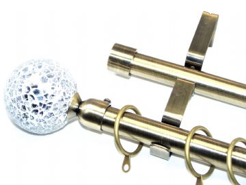 19/19mm Double Layer Antique Brass Curtain Pole Mosaic Finials 1.2m 1.5m 2.4m 3m